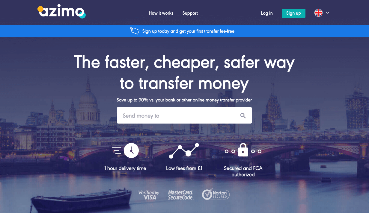 Azimo referral code discount £10 off first transfer with DENISB25