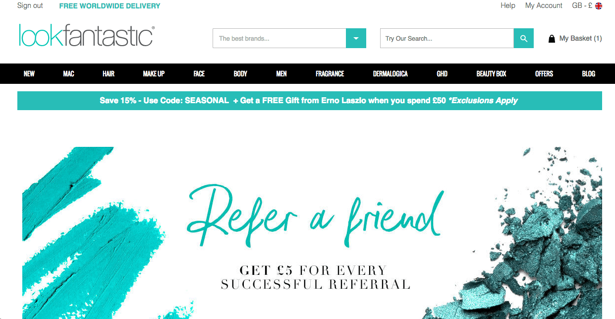 Look fantastic referral code DENIS-RC6 for £5 off