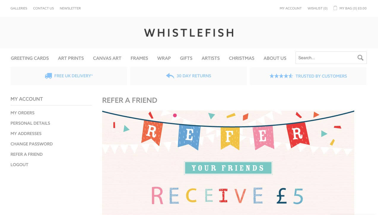 Whistlefish referral code discount for £5 off their first order over £25