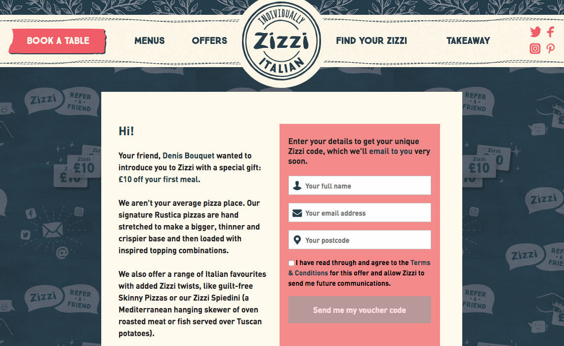 Zizzi referral £10 off your first meal with this voucher