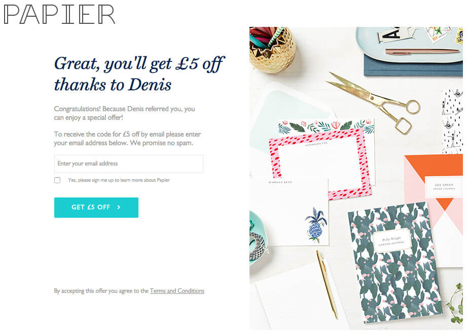 Papier.com referral code – £5 off your first order