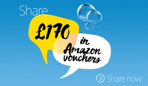 O2, share £170 in amazon vouchers