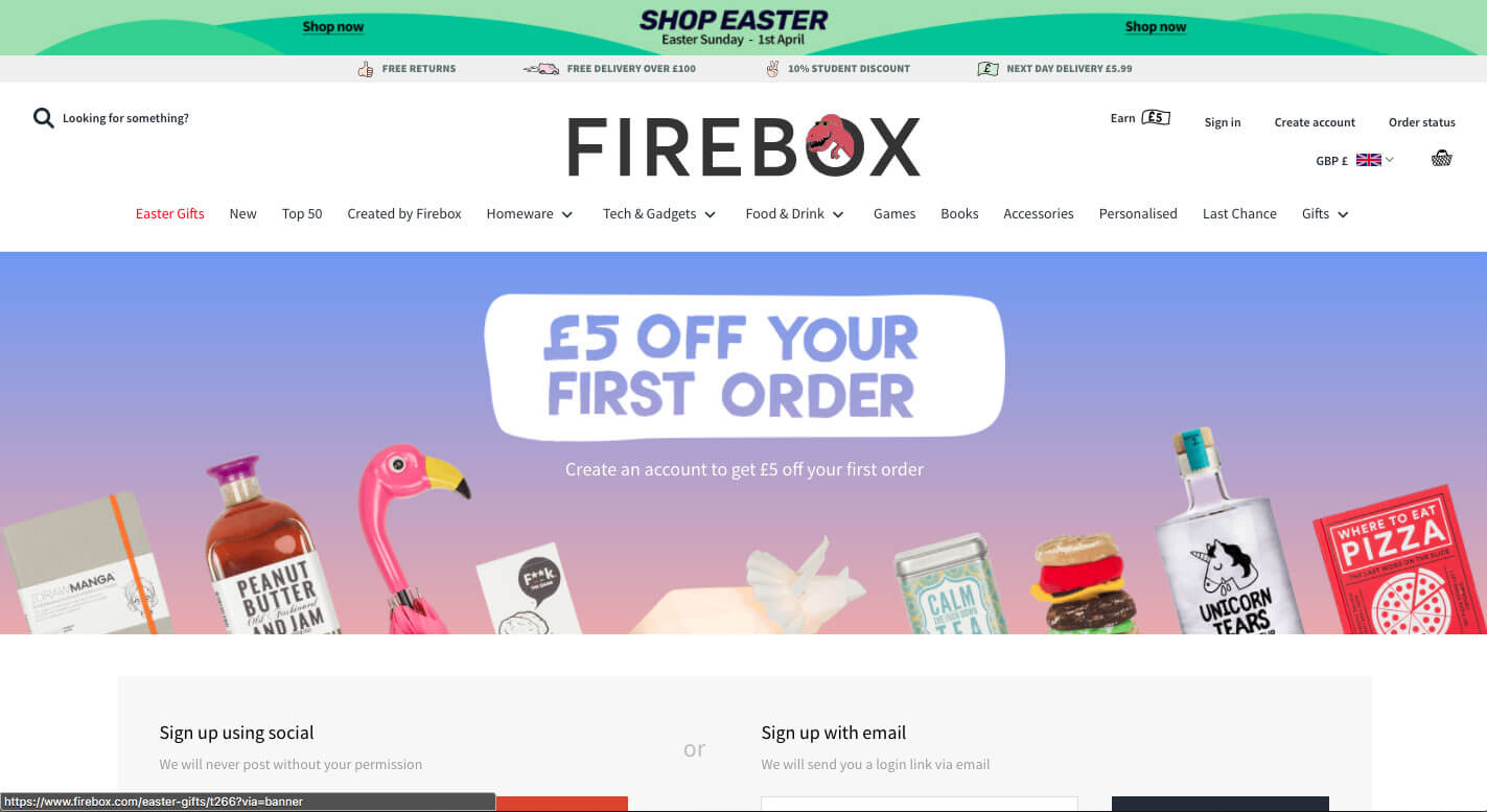 Firebox referral code £5 discount voucher on your first order at firebox.com
