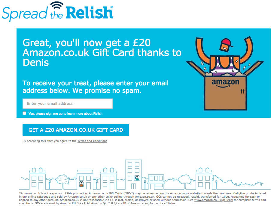 Relish refer a friend invite