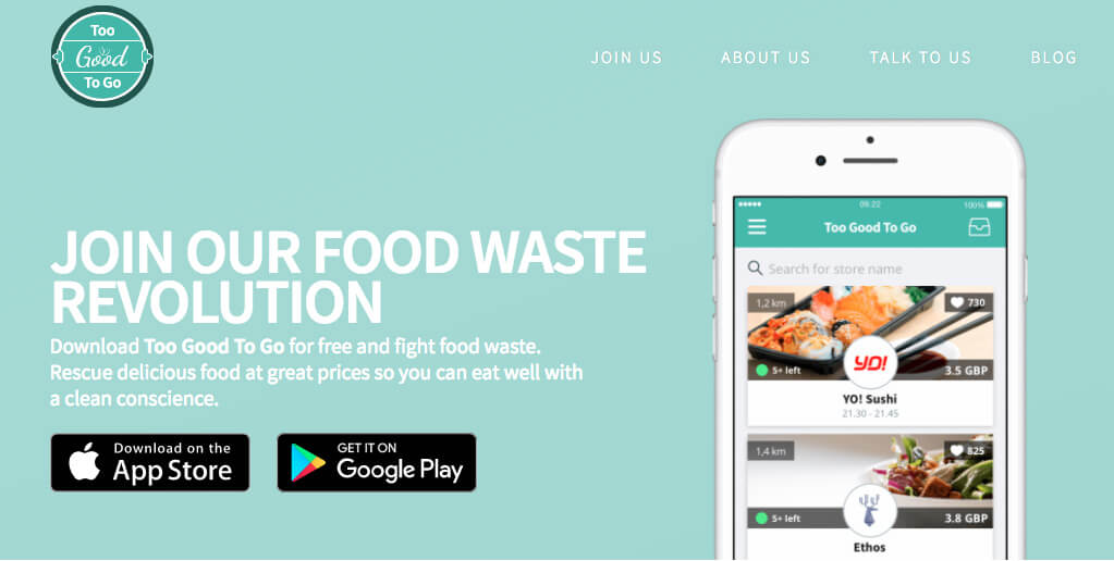 Too good to go app - reduce food waste