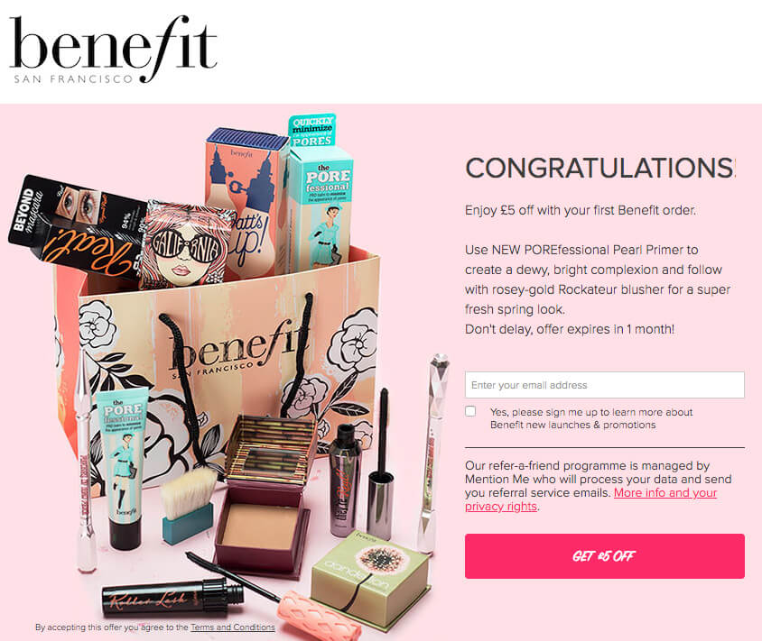Benefit cosmetics referral code 5 GBP off