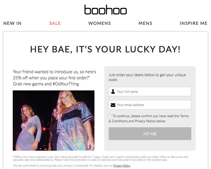 Boohoo referral code for 25% off – refer a friend deal