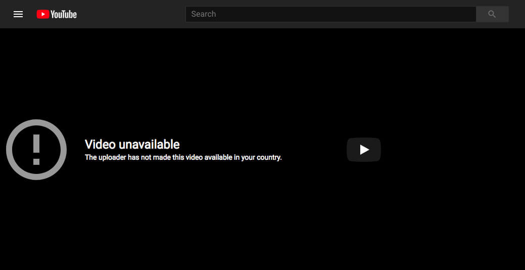 "Youtube ""Video unavailable"", The uploader has not made this video available in your country."