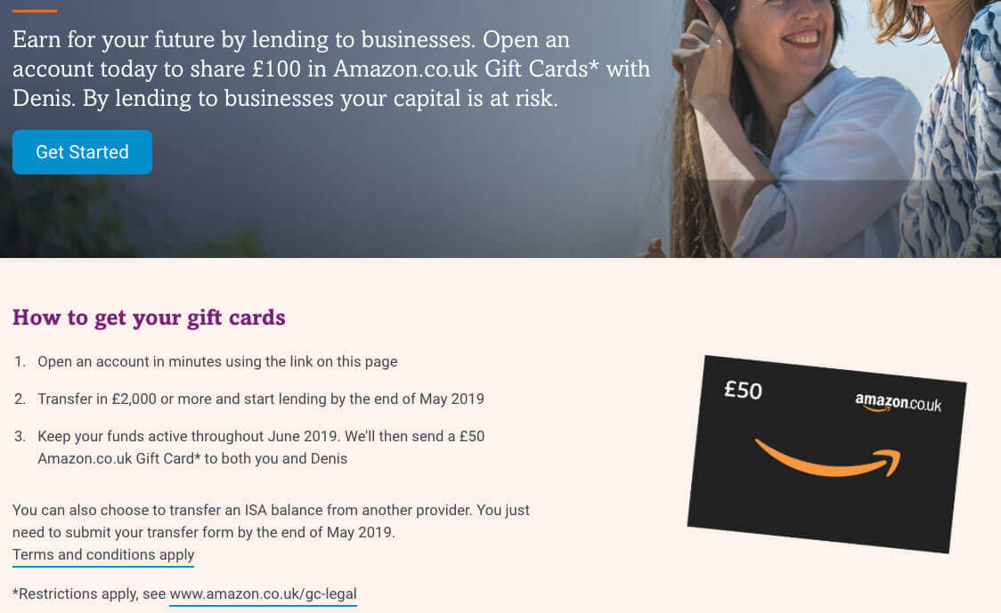 Funding Circle refferal code coupon invite for 50 GBP amazon gift card