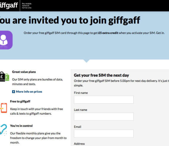 Giffgaff referral code £5 credits - refer a friend invite