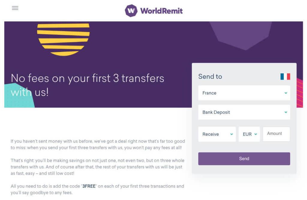 worldremit 3 free transfer