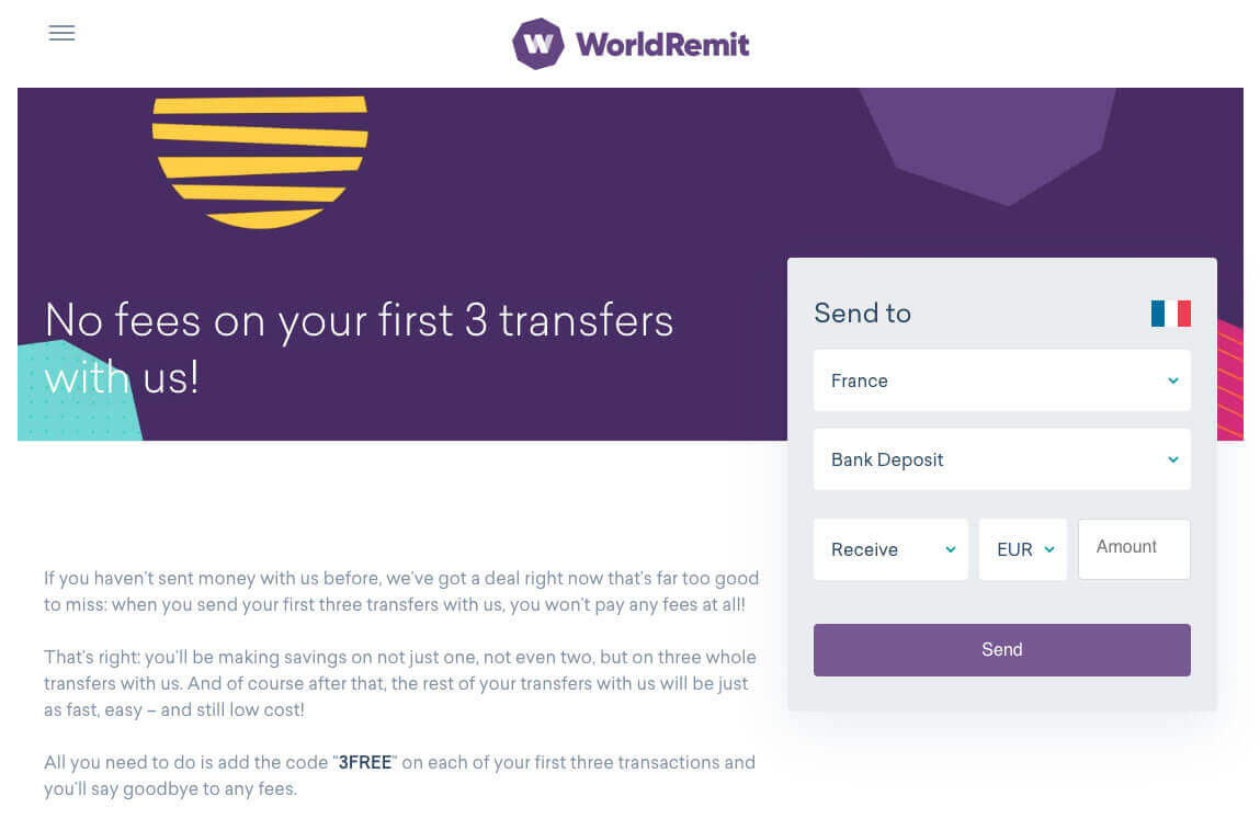 WorldRemit referral code DENISB117 for £20 and free transfers 3FREE