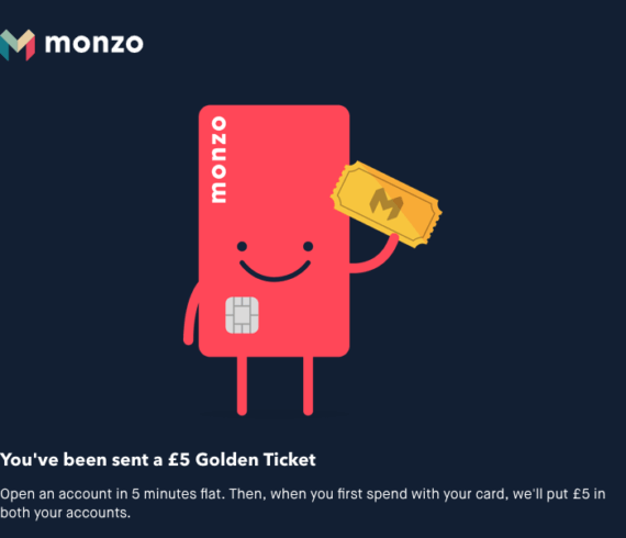 Monzo referral link for £5 free money