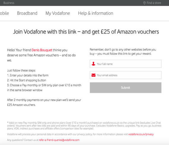 vodafone.co.uk referral invite code, £25 Amazon.co.uk Gift card voucher
