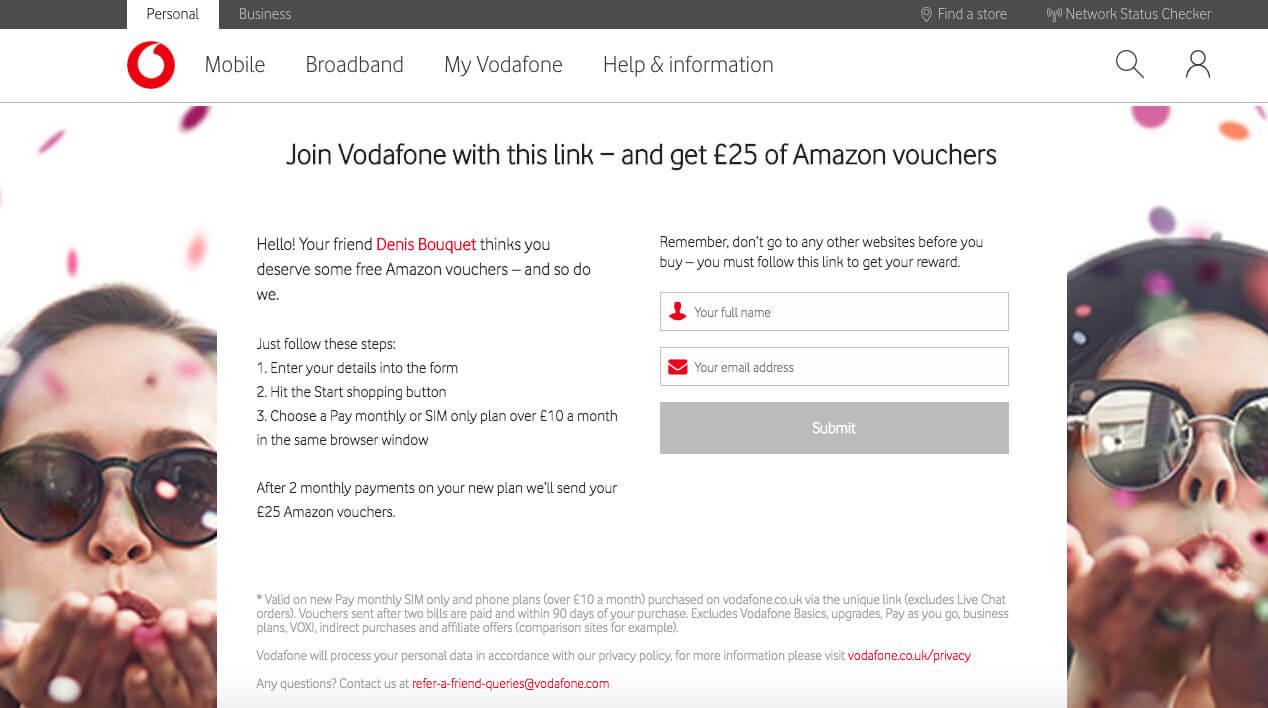 vodafone.co.uk referral invite code, £25 Amazon.co.uk Gift card voucher