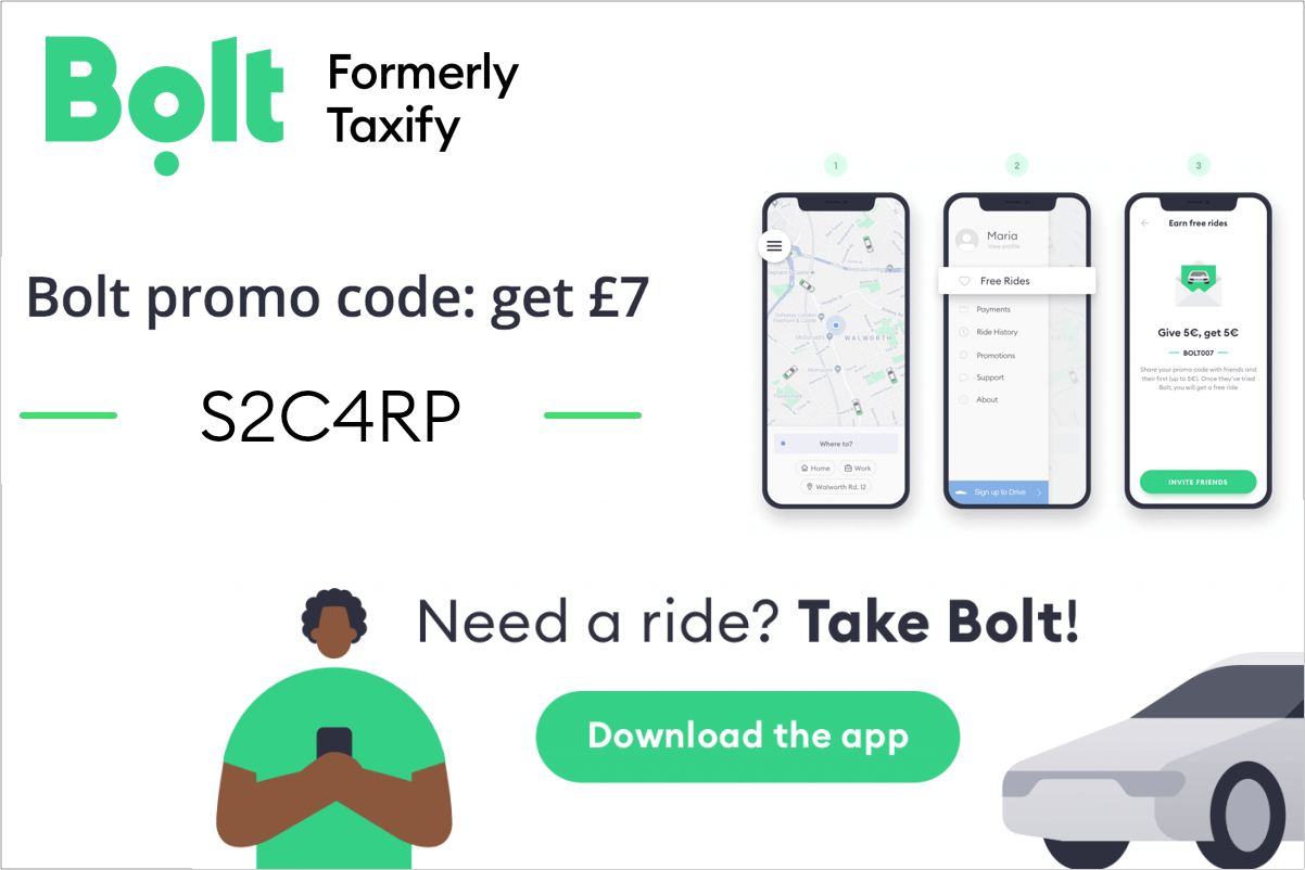 Bolt referral code - first free ride code: S2C4RP (up to £7) - UK