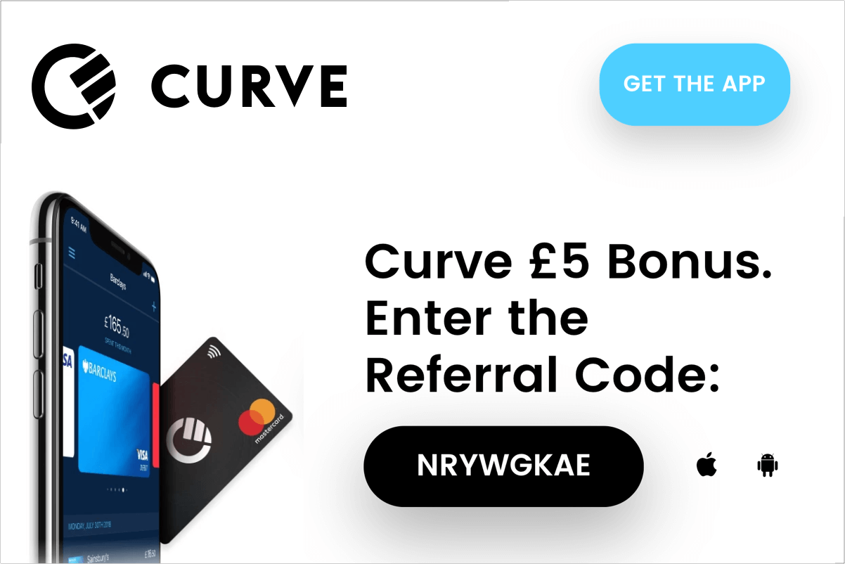 Curve code discount 5 GBP bonus on card activation with this code