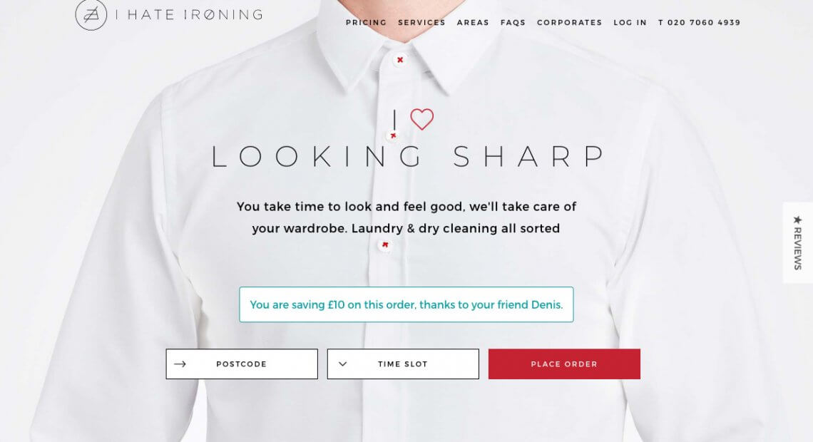 I hate ironing promo code £10 on a first order - refer a friend offer referral code deni4gv