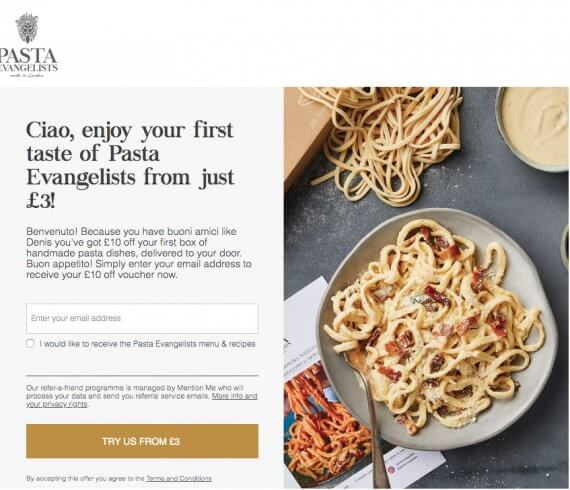 Pasta Evangelists referral code £10 voucher