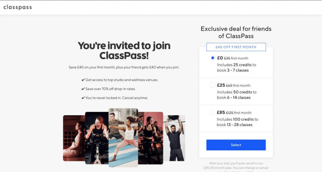 ClassPass refer a friend code for your free trial, first month for free