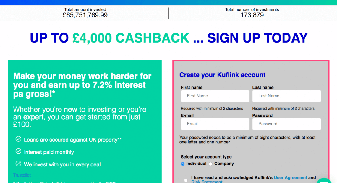 Kuflink refer a friend offer- referral code invite for up to 4% cashback on your Kuflink investment