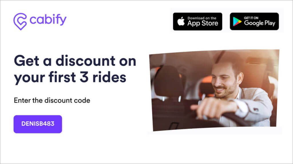 Cabify referral code DENISB483 - discount code for free money on taxi rides - invite friends - refer a friend offer