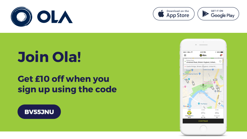Ola cabs referral code BV55JNU - refer a friend introductory offer - UK