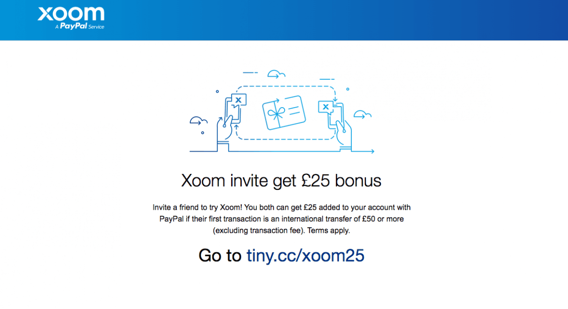 Xoom referral code: Invite a friend - £25 bonus added on your Paypal account