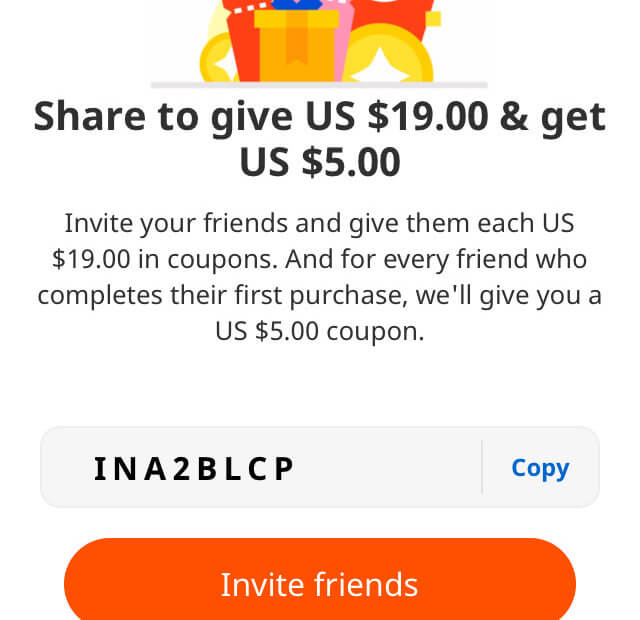 Aliexpress invite code $19 coupons for new users - refer a friend 2020