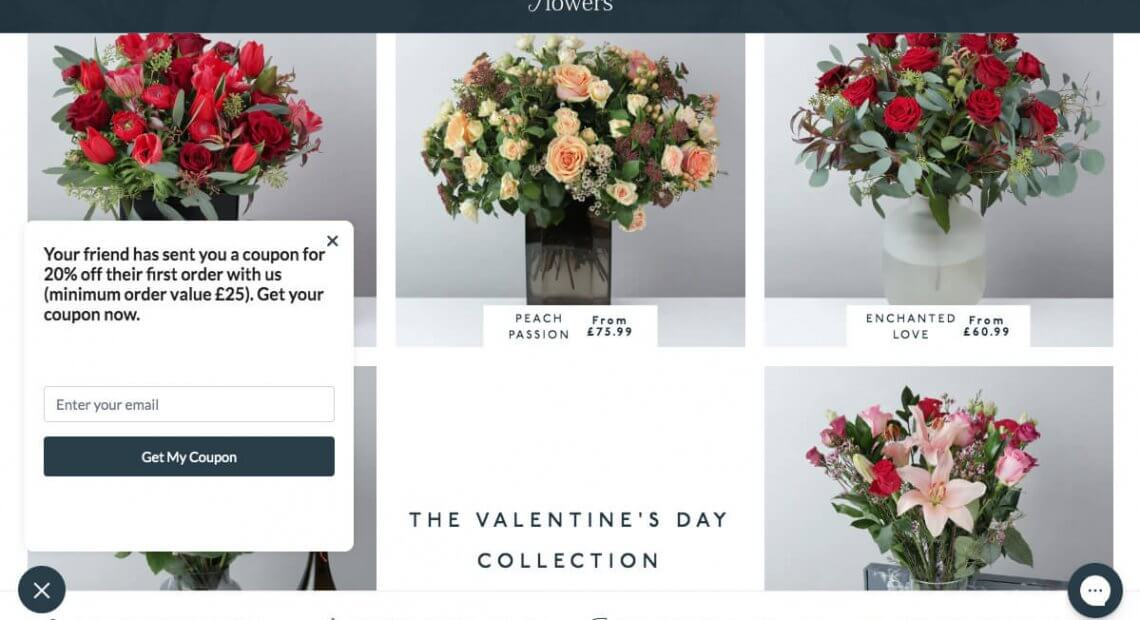 Arena Flowers referral code discount 20% off first order with refer a friend Arena Flowers invite 2020