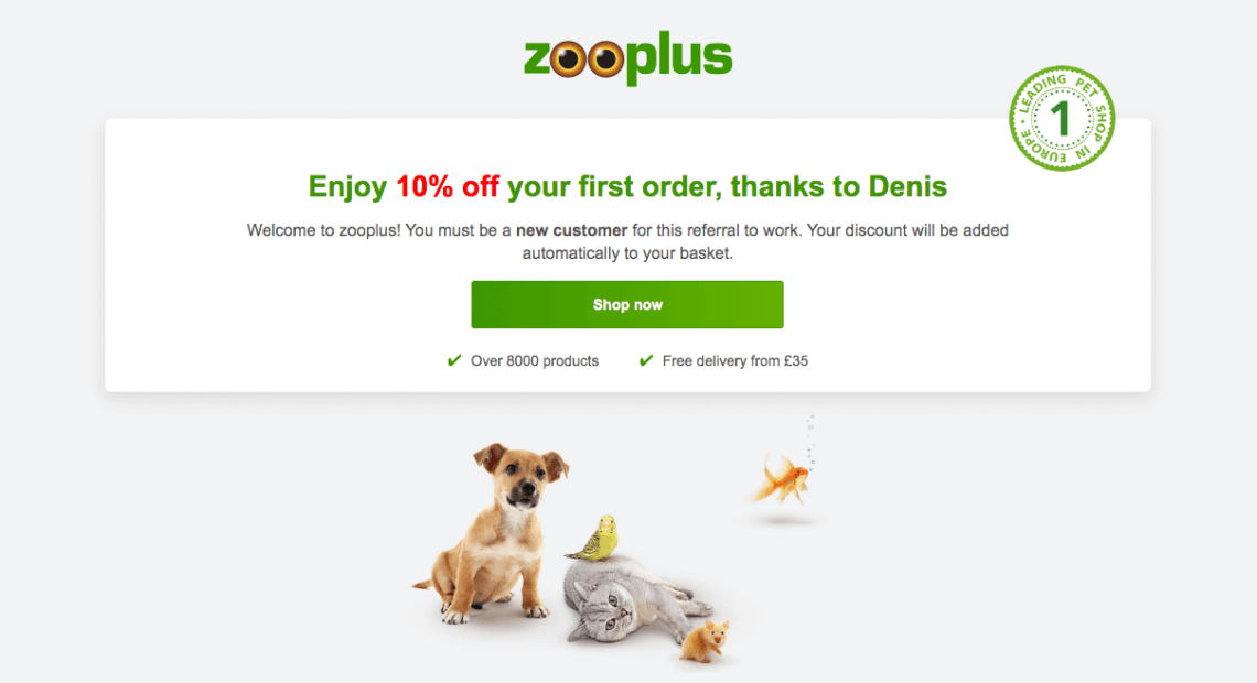 Zooplus code coupon 10% - refer a friend offer. Use this invite link to shop at zooplus and enjoy a discount on your first order.