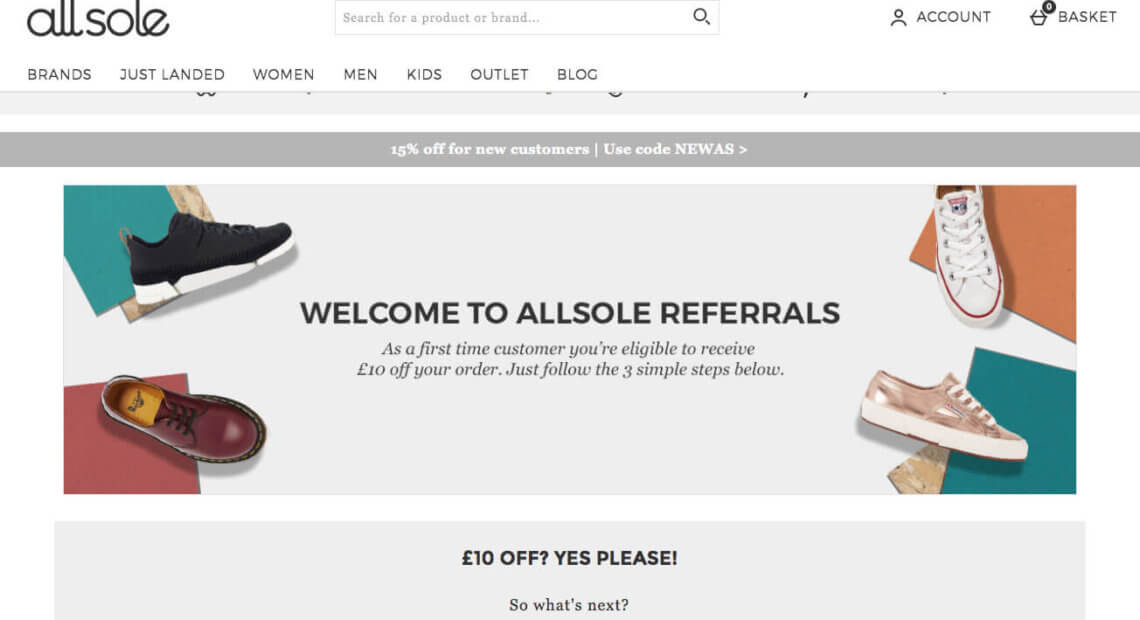 Allsole referral code DENIS-R1Q for £10 discount + free delivery