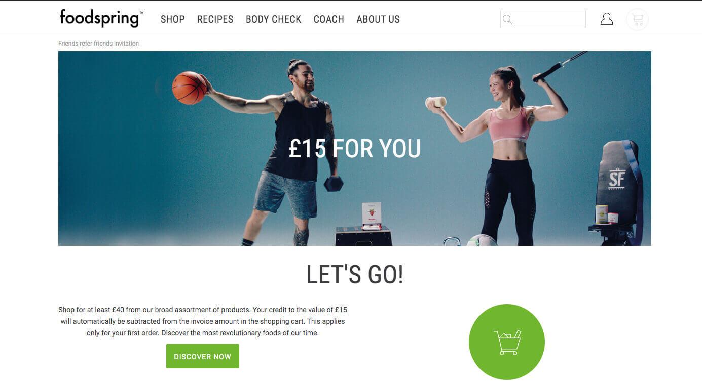 Foodspring discount invite, £15 bonus with Foodspring refer a friend offer - referral code