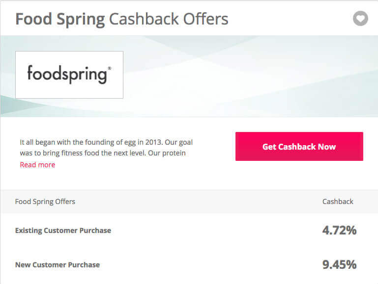 foodspring cashback on order