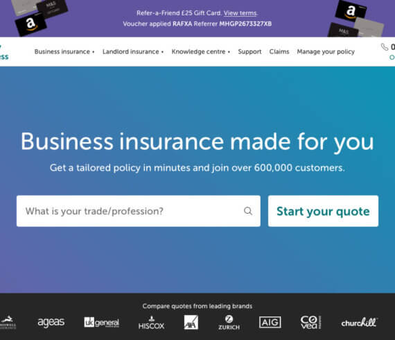 Simply Business insurance refer a friend £25 gift card