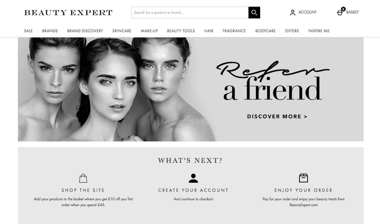 beauty expert referral discount code for £10 off promo on your first order over £45 at beautyexpert.com