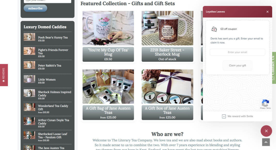 The Literary Tea Company referral code discount 3 GBP bonus reward