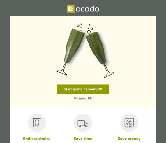 Ocado referral code invitation. £20 discount code and free delivery for a year