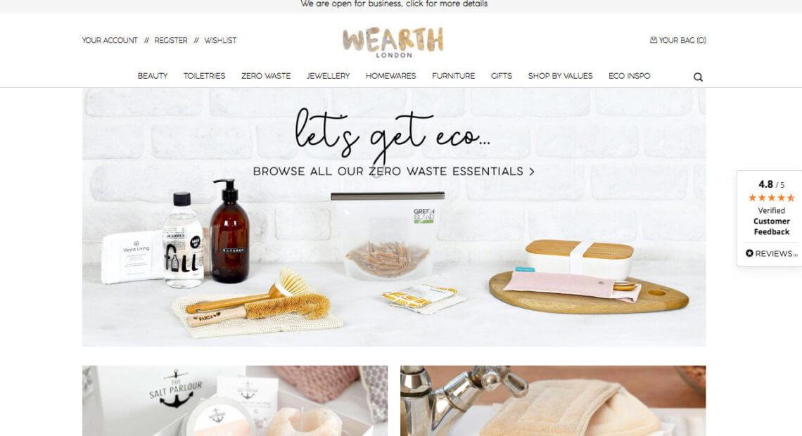 Wearth London referral invite, eco shopping website