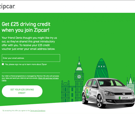 Zipcar referral code discount £25 GBP credit bonus