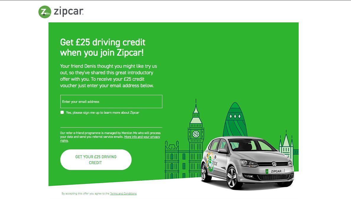 Zipcar referral code discount £25 GBP credit bonus