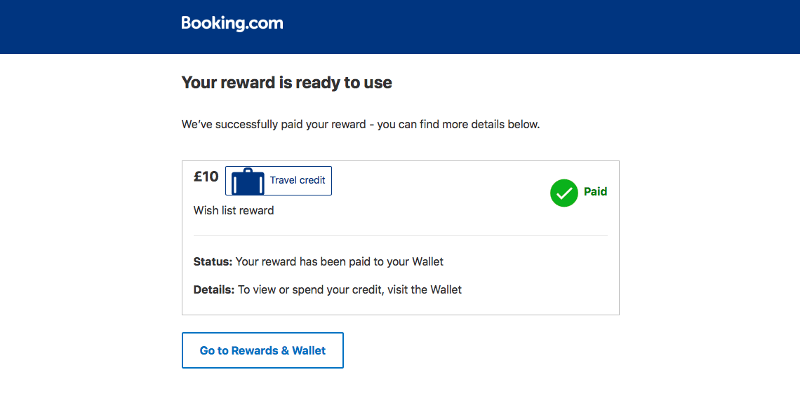 booking like 3 properties and receive a reward towards a future booking