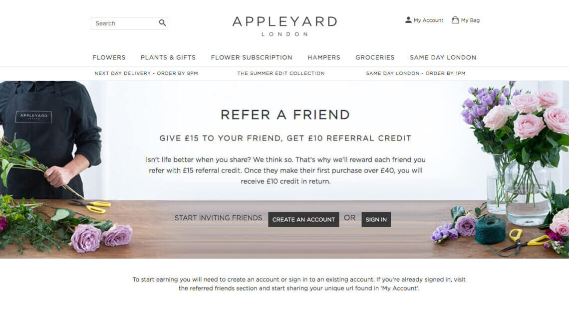 Appleyard London referral code - refer a friend discount code