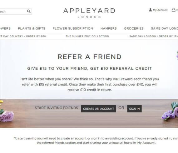 Appleyard London referral code - refer a friend discount code