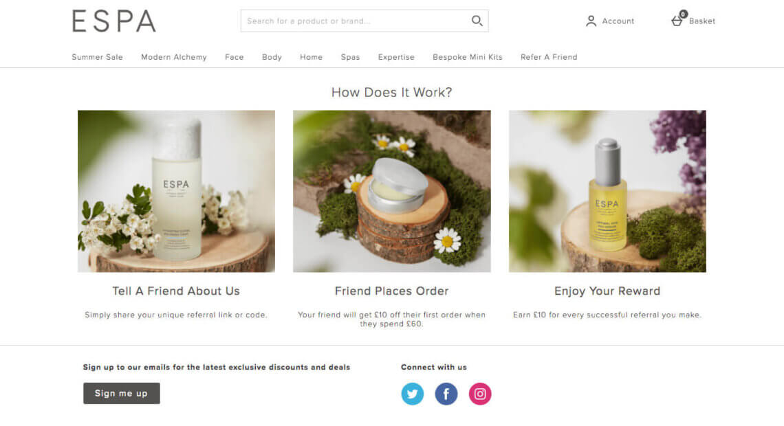 ESPA skincare referral code - get a £10 discount on your first order with the refer a friend offer