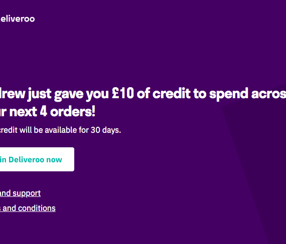 Deliveroo referral code UK - promo code for new customer, 10 GBP discount on your first 4 orders