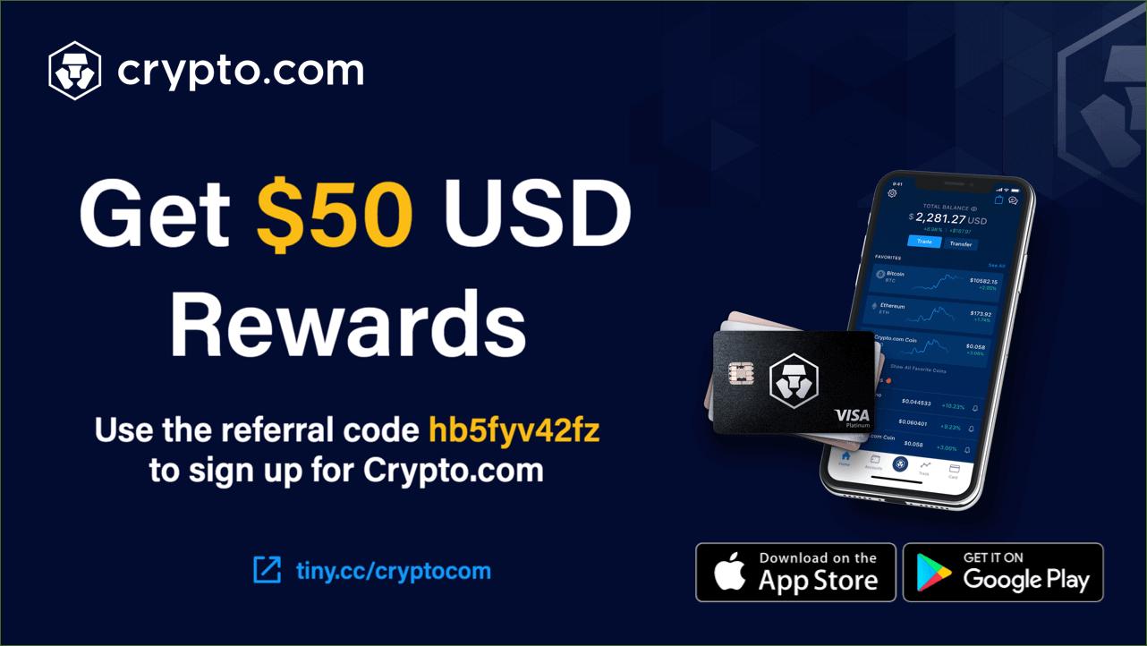 Crypto.com referral code, get 50 USD bonus with the Crypto BG50 referral program