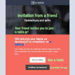 e-table referral invite, 500 points for a discount on your restaurant booking