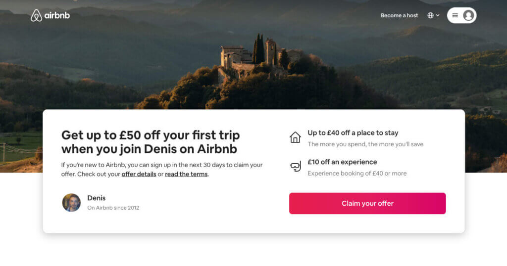 Airbnb referral code: invite for £25 discount bonus towards your first trip