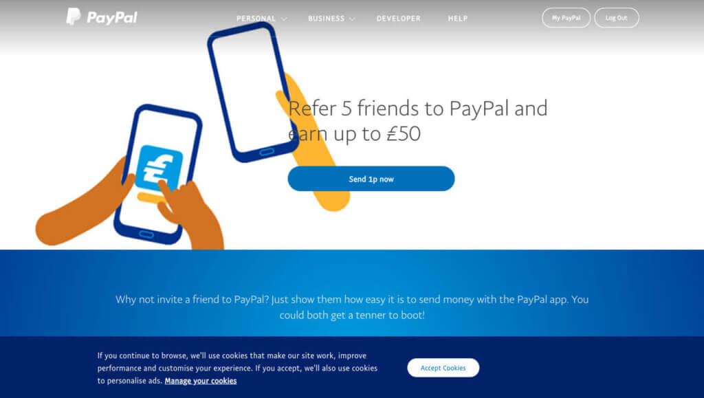 Paypal referral code invitation for £10 bonus